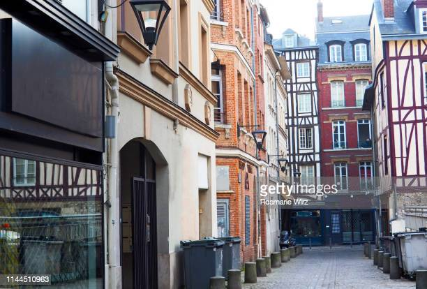 rouen historical street in the old city - rouen stock pictures, royalty-free photos & images