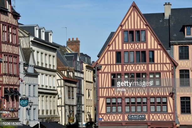 Rouen : Norman traditional houses with with half-timbered frontages in the square of the Old Market in the hypercenter of the city