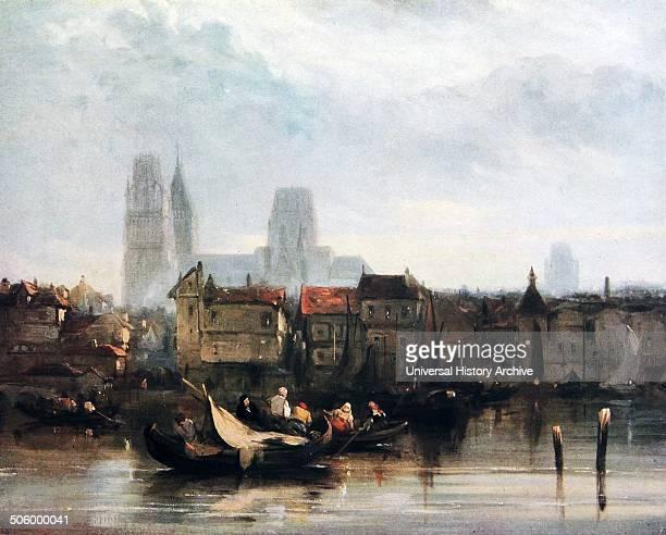 Rouen Oil painting depicting a river scene of the city of Rouen on the River Seine France By Richard Parkes Bonington an Englishborn Romantic...