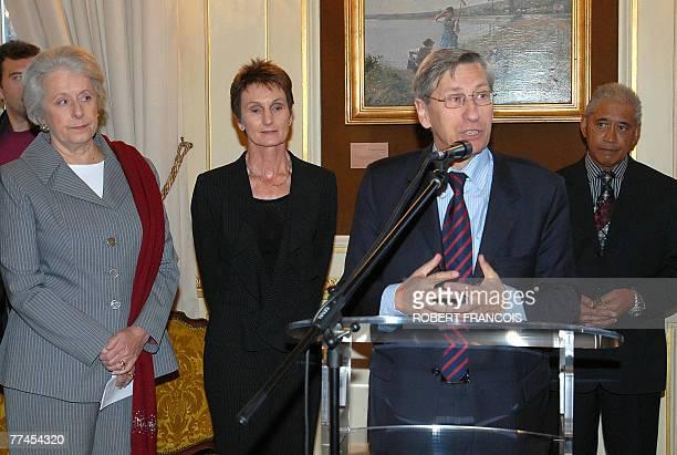 Rouen's mayor Pierre Albertini delivers a speech next to a representative of the Maori community Ariki Nuitumu Te Heuheu NewZealand's ambassador to...