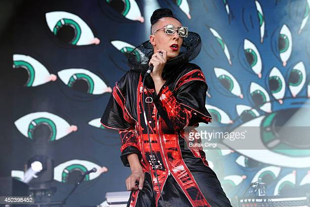 Rouge Mary of Hercules and Love Affair performs on stage at Lovebox 2014 at Victoria Park on July 19 2014 in London United Kingdom