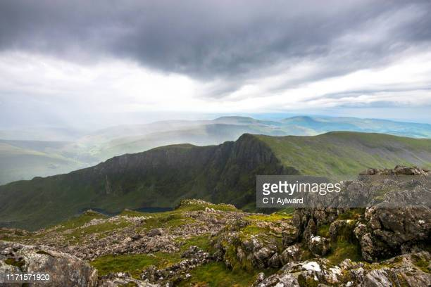 rough and rugged mountain landscape of wales - national park stock pictures, royalty-free photos & images