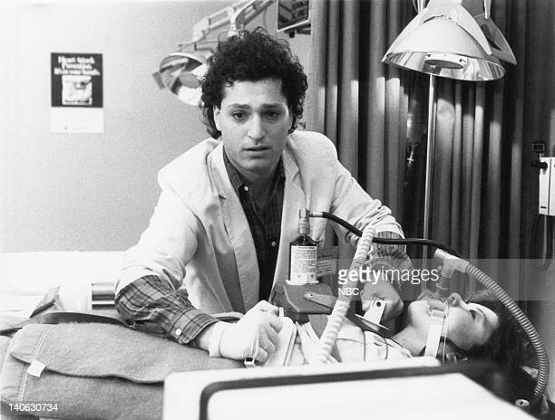"""Rough Cut"""" Episode 21 -- Aired -- Pictured: Howie Mandel as Dr. Wayne Fiscus, Kim Miyori as Dr. Wendy Armstrong -- Photo by: NBCU Photo Bank"""