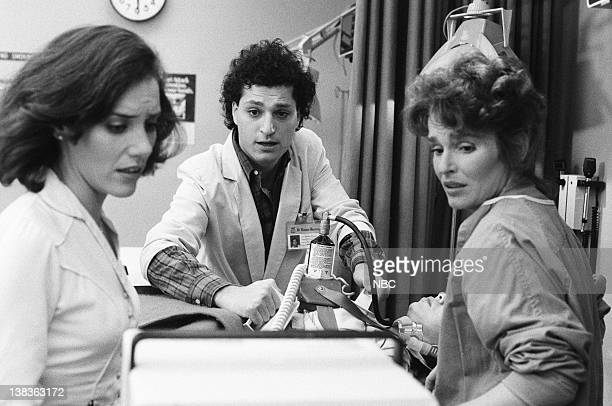 "Rough Cut"" Episode 21 -- Pictured: Ellen Bry as Nurse Shirley Daniels, Howie Mandel as Doctor Wayne Fiscus, Kim Miyori as Doctor Wendy Armstrong ,..."