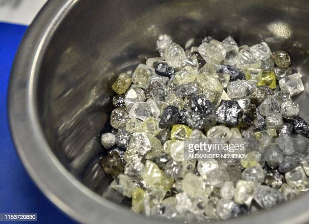 Rough diamonds are seen in Alrosa Diamond Sorting Center in the town of Mirny on July 1 2019 Russian Alrosa gets its diamonds in the permafrost...