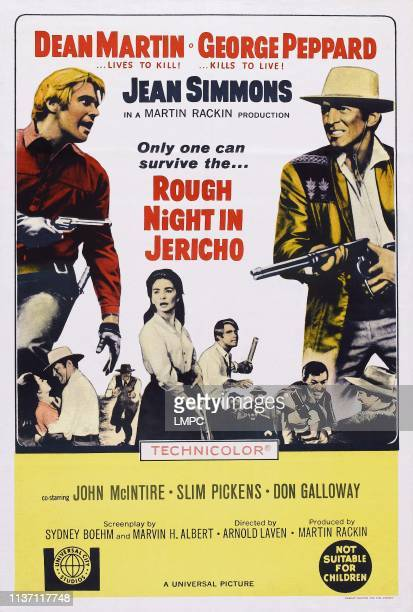 Rough Night In Jericho, poster, US poster, from left: George Peppard, Jean Simmons , Dean Martin, 1967.