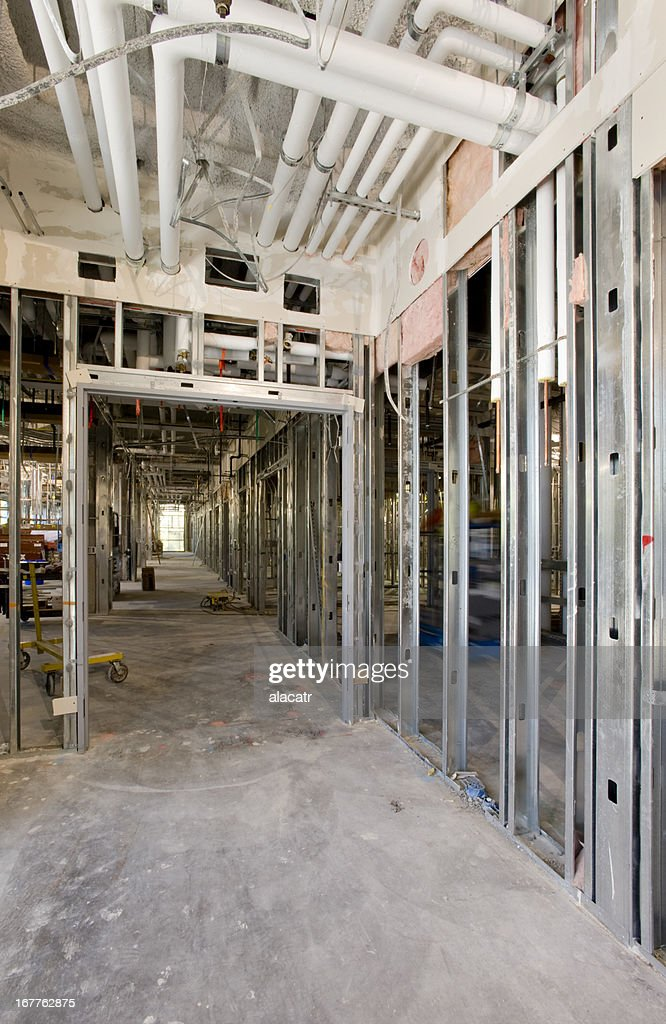 Rough Plumbing And Steel Stud Framing Commercial Construction Stock