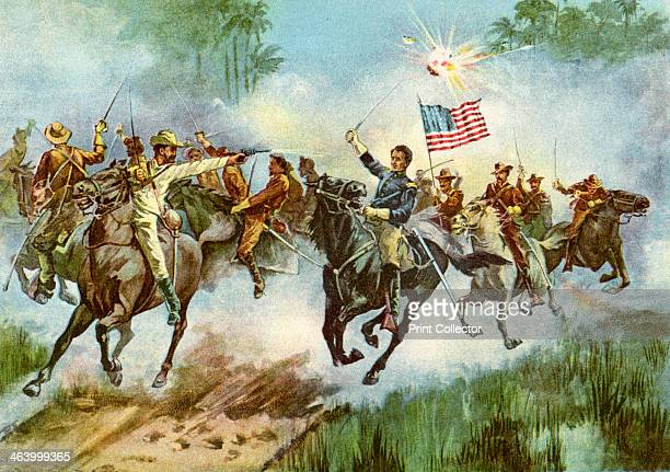Rough Riders stampeding a Spanish outpost, Cuba, Spanish-American War, 1898. The 'Rough Riders' was the name given to the 1st United States Volunteer...