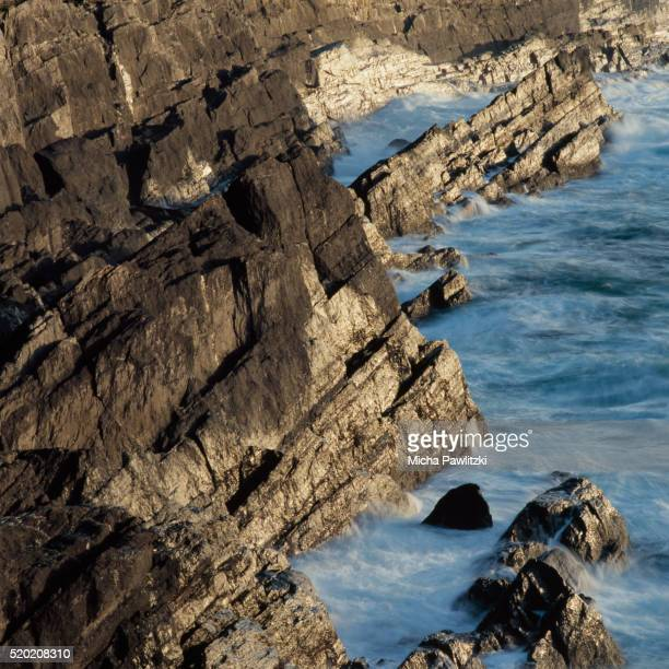 rough, rocky coast at connacht, mayo, ireland - cliff stock pictures, royalty-free photos & images