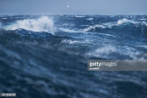 rough sea and waves crashing - gale stock photos and pictures