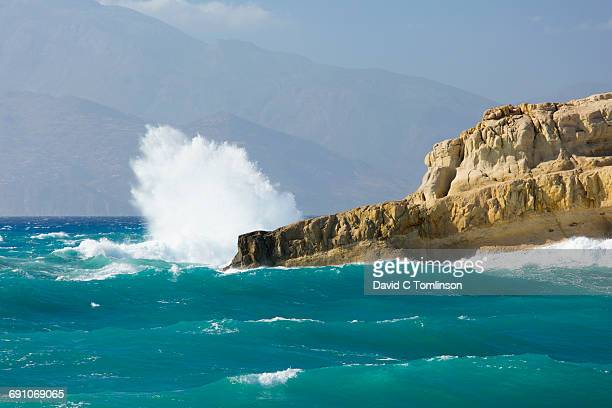 Rough sea battering headland, Matala, Crete