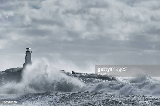 Rough sea lighthouse