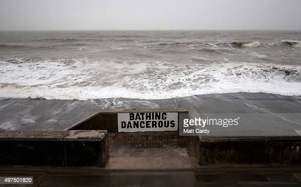 Rough seas are seen as the wind strength and speed increases on November 17 2015 in Porthcawl Wales The Met Office has issued weather warnings for...