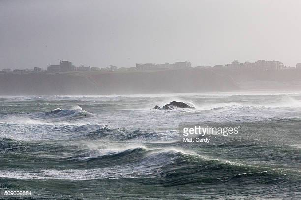 Rough seas are seen in Newquay on February 8 2016 in Newquay England Parts of the UK are currently being battered by Storm Imogen the ninth named...