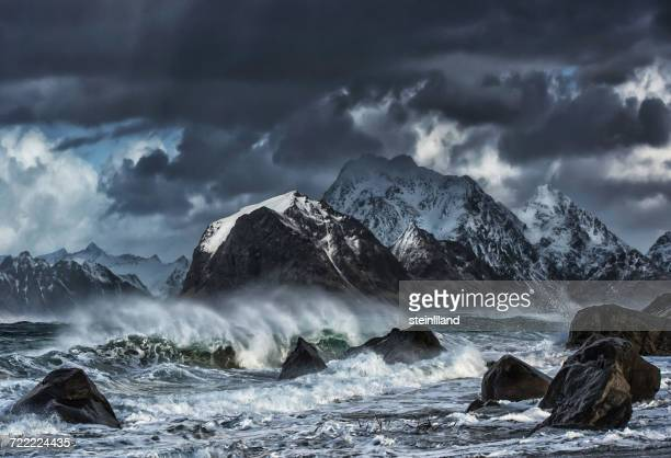 Rough seas, Myrland, Flakstad, Lofoten, Norway