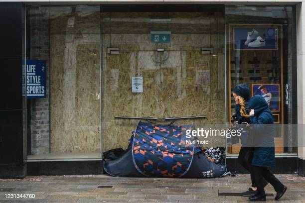 Rough sleeper's tent on Grafton Street in Dublin city center during Level Five Covid-19 lockdown. The Taoiseach Micheal Martin has just confirmed the...