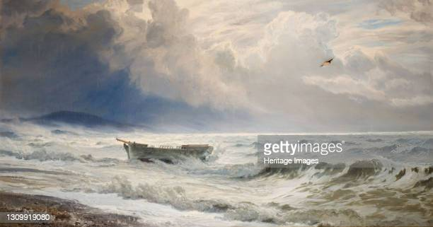 Rough Weather On The Coast, Cumberland, 1874. Artist Henry Moore. .