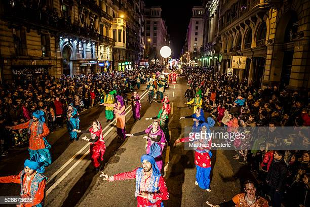 Roughly 1300 actors dancers and musicians in colorful costumes participate in the colorful and magic cavalcade of magi 2016