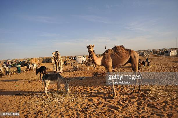 Roughly 28000 new arrivals who have been displaced from the south Darfur villages of Muhajariya Labado and Kasan Jadid gather in makeshift shelters...