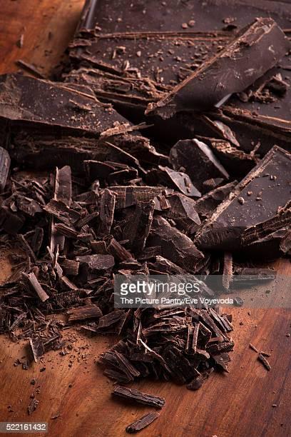 Roughly cut chunks of a chocolate bar