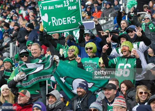 TORONTO ON NOVEMBER 19 Roughrider fans show their support as the Toronto Argonauts host the Saskatchewan Roughriders in the CFL Eastern Final at BMO...