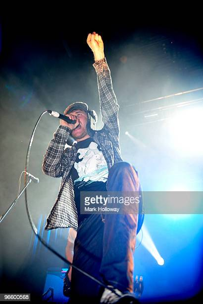 """Roughton """"Rou"""" Reynolds of Enter Shikari performs on stage at O2 Academy on February 11, 2010 in Bournemouth, England."""