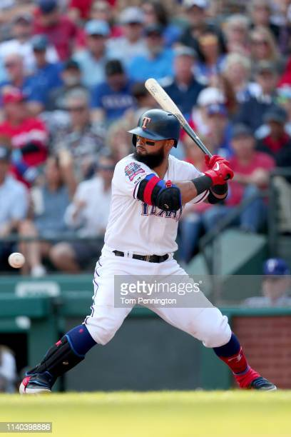 Rougned Odor of the Texas Rangers at bat against the Chicago Cubs during Opening Day at Globe Life Park in Arlington on March 28 2019 in Arlington...