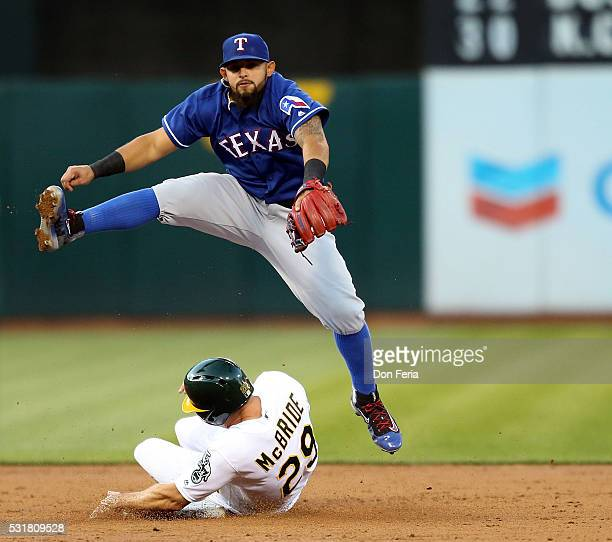 Rougned Odor of the Texas Rangers avoids the collision at second with Matt McBride of the Oakland Athletics in the third inning at Oco Coliseum on...