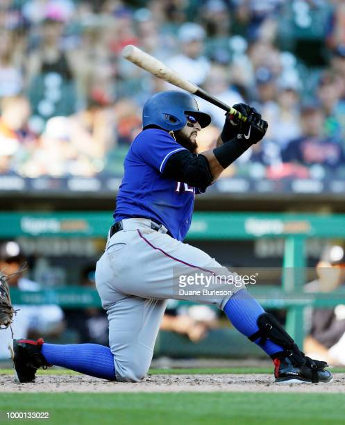 Rougned Odor of the Texas Rangers bats against the Detroit Tigers at Comerica Park on July 7 2018 in Detroit Michigan