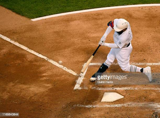 Rougned Odor of the Texas Rangers bats in the first inning against the Chicago White Sox at Guaranteed Rate Field on August 23 2019 in Chicago...