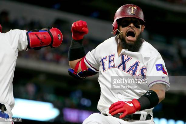 Rougned Odor of the Texas Rangers celebrates after hitting a solo home run against the Cleveland Indians in the bottom of the fifth inning at Globe...