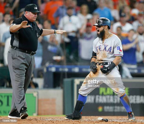 Rougned Odor of the Texas Rangers celebrates after hitting an inside the park home run in the fifth inning against the Houston Astros at Minute Maid...