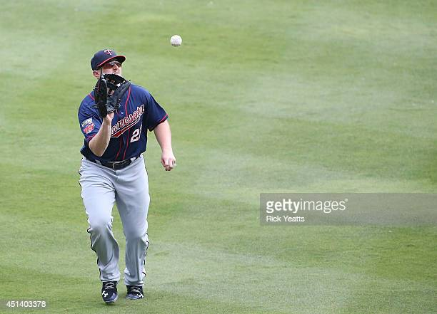 Rougned Odor of the Texas Rangers fly out to Chris Parmelee of the Minnesota Twins in the fifth inning at Globe Life Park in Arlington on June 28,...