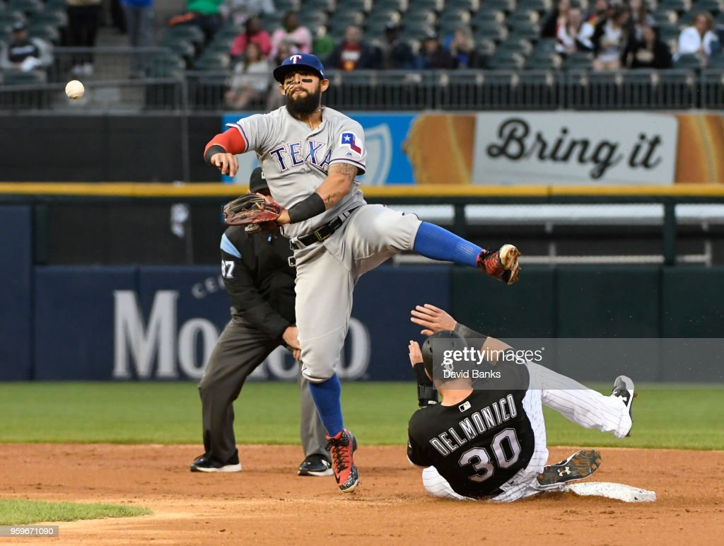 Rougned Odor #12 of the Texas Rangers foces out Nicky Delmonico #30 of the Chicago White Sox at second base during the second inning on May 17, 2018 at Guaranteed Rate Field in Chicago, Illinois.