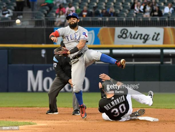 Rougned Odor of the Texas Rangers foces out Nicky Delmonico of the Chicago White Sox at second base during the second inning on May 17 2018 at...