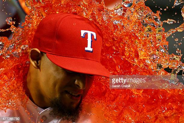 Rougned Odor of the Texas Rangers is dunked with Gatorade after a game against the Los Angeles Dodgers at Globe Life Park in Arlington on June 15,...