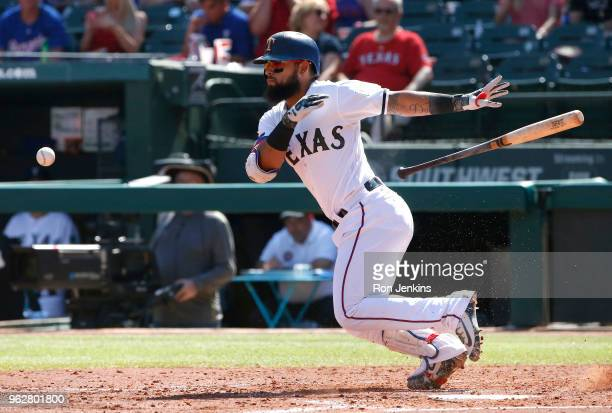 Rougned Odor of the Texas Rangers lays down a sacrifice bunt against the Kansas City Royals during the fourth inning at Globe Life Park in Arlington...