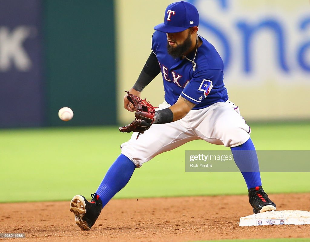 Rougned Odor #12 of the Texas Rangers make the out on second base in the sixth inning against the Oakland Athletics at Globe Life Park in Arlington on June 5, 2018 in Arlington, Texas.