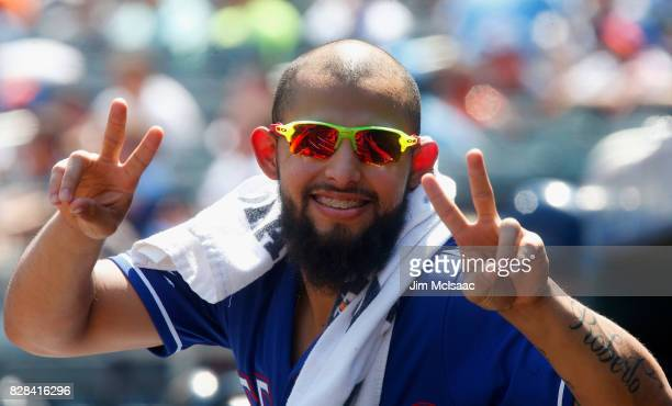 Rougned Odor of the Texas Rangers poses for a photograph from the dugout during the second inning against the New York Mets at Citi Field on August 9...