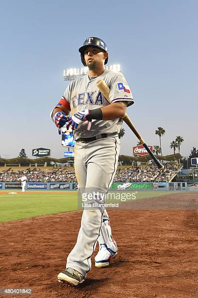 Rougned Odor of the Texas Rangers prepares to bat against the Los Angeles Dodgers at Dodger Stadium on June 17 2015 in Los Angeles California