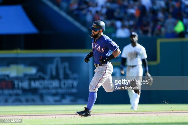 Rougned Odor of the Texas Rangers rounds the bases after hitting a home run against the Detroit Tigers during the sixth inning at Comerica Park on...