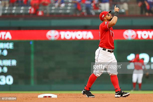 Rougned Odor of the Texas Rangers says a prayer prior to the start of game two of the American League Divison Series against the Toronto Blue Jays at...