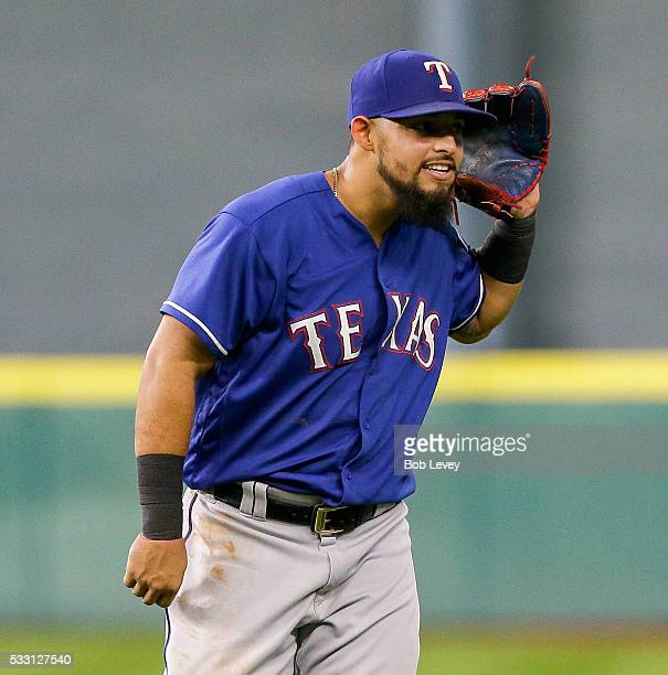 Rougned Odor of the Texas Rangers taunts the fans in the fifth inning against the Houston Astros at Minute Maid Park on May 20 2016 in Houston Texas