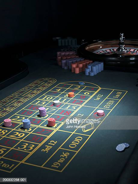 Roulette betting table, bets placed on some numbers