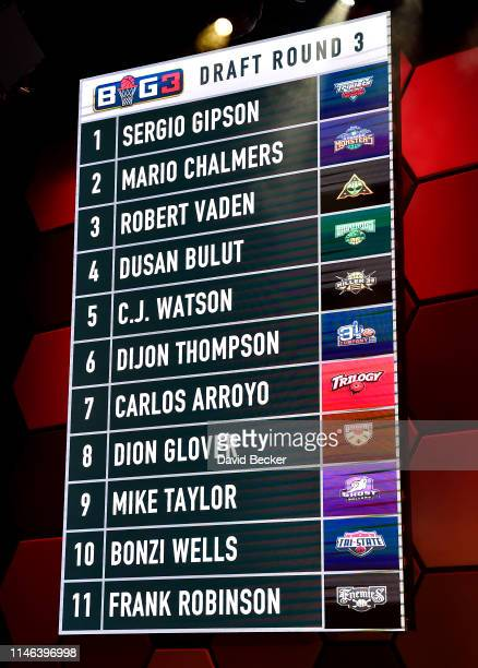 Round 3 draft results are seen during the BIG3 Draft at the Luxor Hotel Casino on May 01 2019 in Las Vegas Nevada