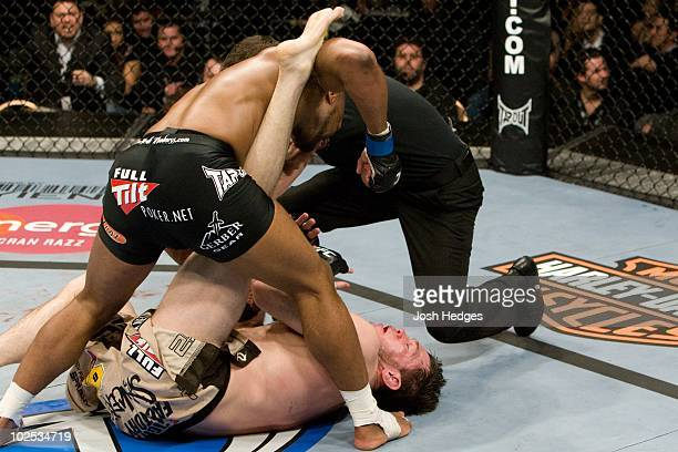 Rashad Evans def Forrest Griffin TKO 246 round 3 during the UFC 92 at MGM Grand Garden Arena on December 27 2008 in Las Vegas Nevada