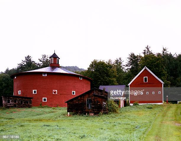 Round barn and outbuildings Barnet Vermont