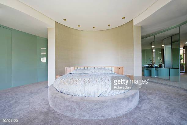 Round bed in modern bedroom