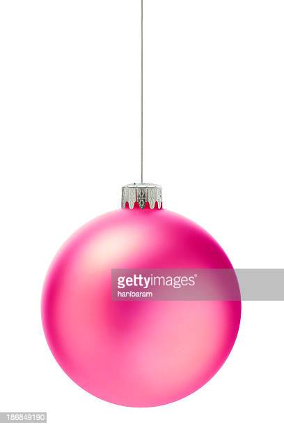 round bright pink christmas ornament - pink stock pictures, royalty-free photos & images