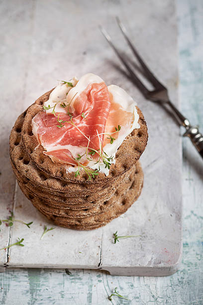 Round Crispbreads, Cream Cheese, Cooked Ham And Cress Wall Art